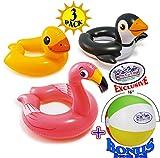 Intex Animal Split Ring Pool Floats Duck, Flamingo & Penguin Gift Set Bundle with Bonus Matty's Toy Stop 16' Beach Ball - 3 Pack