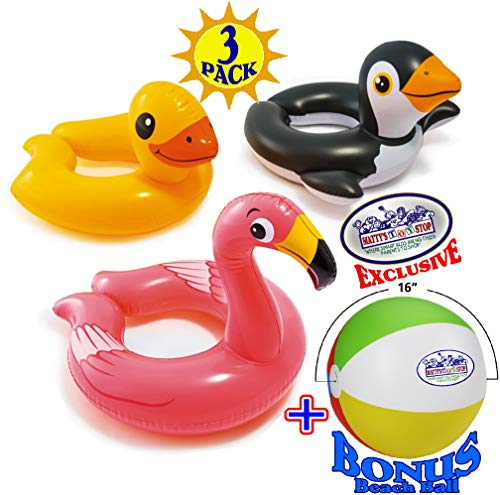 Intex Animal Split Ring Pool Floats Duck, Flamingo & Penguin Gift Set Bundle with Bonus Matty's Toy Stop 16