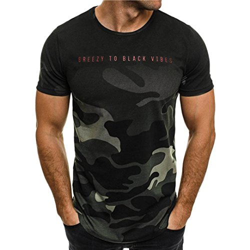 Clearance ! Yang-Yi 2018 Fashion Men Personality Camouflage Casual Slim Short-Sleeved Shirt Top Blouse (Green, M)