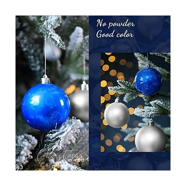 ZoneYan Palle di Natale 4cm, Palline Dell'Albero di Natale, Addobbi Natalizi Palline per Albero, Set Palla di Natale, Albero di Natale Palla Decorazioni con Albero Natale Scintillante—36 Pezzi (Blu) 6 spesavip