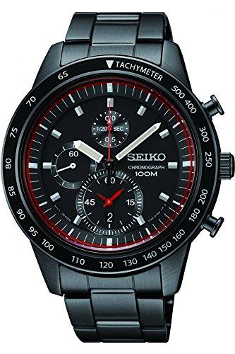 (Seiko Chronograph Black Dial Titanium Carbon Coated Mens Watch)