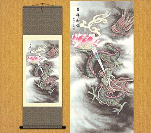 Sunmir (TM Silk Scroll Painting Chinese Dragon Lotus Lotus Dragon