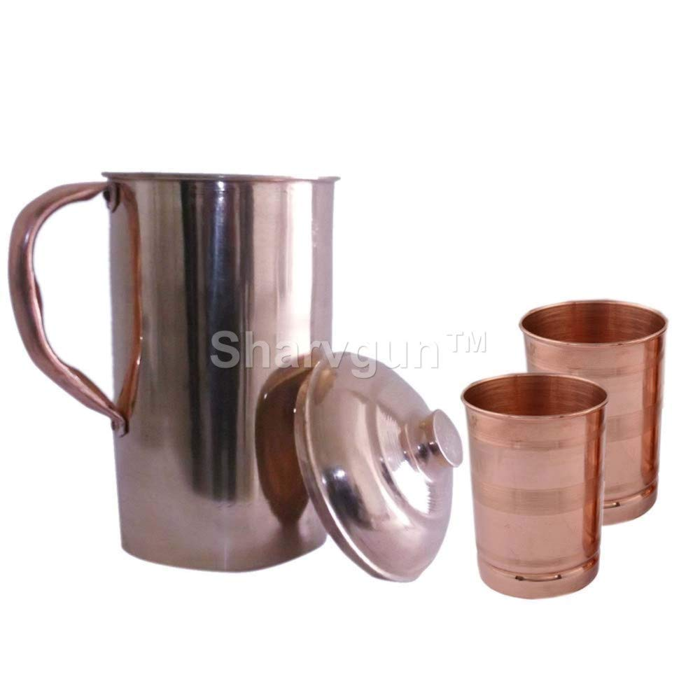 Sharvgun Pure Copper Water Jug With 2 Copper Tumbler   Copper Pitcher and Tumbler for Ayurveda Health