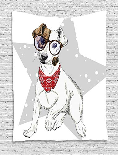 - Ambesonne Jack Russell Tapestry, Star Terrier with Necktie and Glasses Colorful Composition, Wall Hanging for Bedroom Living Room Dorm, 40