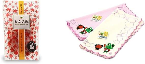 [2点セット] もみじ茶(7パック入)・下呂温泉限定 さるぼぼ&げろぐるくん ふわふわタオルハンカチ【ピンク】
