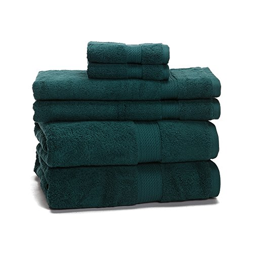 eLuxurySupply 900 Gram 6-Piece Long Staple Cotton Towel Set - Heavy Weight & Absorbent, Teal
