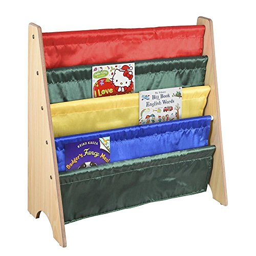 Wood Kids Book Shelf Sling Storage Rack Organizer Bookcase Display Holder Nature