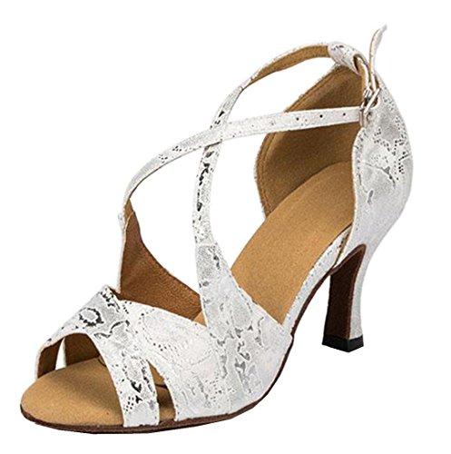 TDA Womens High Heel Peep Toe Synthetic Snakeskin Latin Modern Salsa Tango Ballroom Wedding Dance Shoes Silver n2GqT8Q