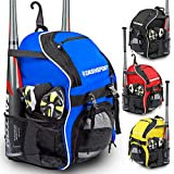 DashSport Baseball Bag Softball Backpack Bat Bag for Youth and Adults | Kids T-Ball Equipment and Softball Bag | Gear for Girls and Boys | Youth Bat Pack (Blue)
