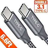 Powerman Thunderbolt 3 USB Type-C Cable-USB C to USB C Cable USB 3.1 C to C 6.6Ft (20V 5A) Nylon Braided Charging Cord Compatible with Macbook Pro, Pixel 2 XL, Nexus 6P 5X, S9 S8 Plus, Huawei Matebook