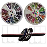 New8Beauty Nail Art Kit Set - 3D Rhinestones Colorful and Neon Wheels - Nail Striping Tape Strips - French Nail Tip Guides Stickers - Nail File Emery Board - DIY Nails Decoration Design Accessories Tools Supplies - Great Gift for Woman Girls Teens Kids Beginners Nail Technician Prime