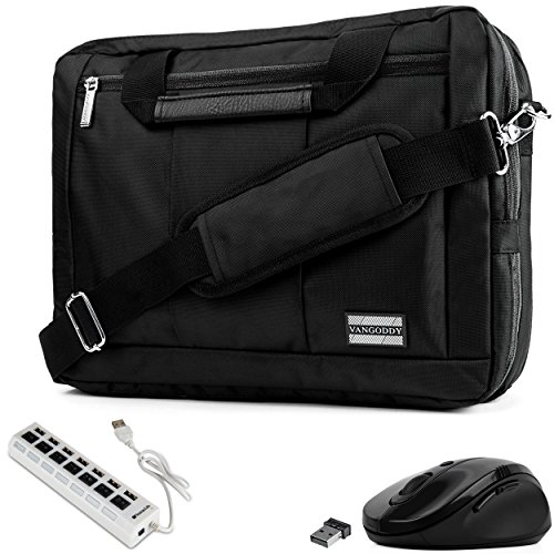 VanGoddy 3-in-1 Black Trim Hybrid Laptop Bag w/Mouse and USB HUB for Lenovo Flex/ThinkPad / IdeaPad/Legion / Yoga 14