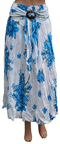 Knack Women's Long Crinkle Cotton Floral Skirt & Coconut Shell Buckle (One Size, Blue)