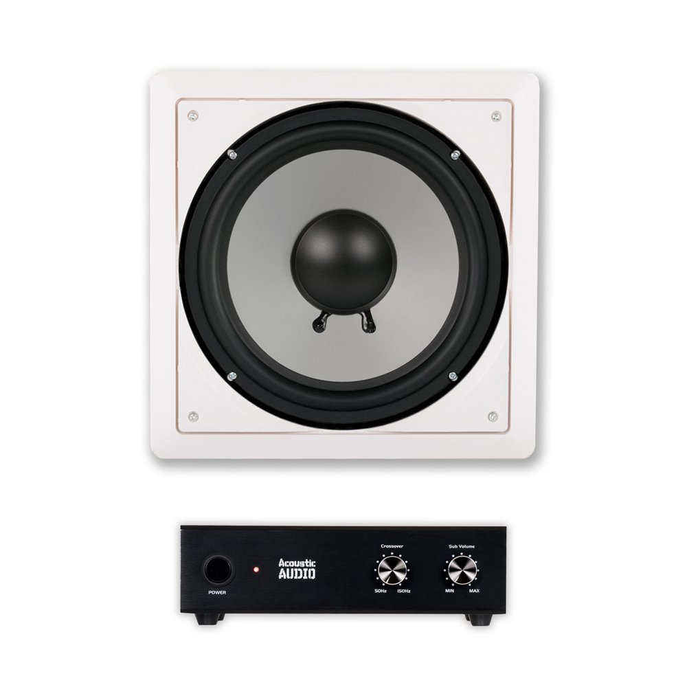 Acoustic Audio CS-IW10SUB In Wall 10'' Passive Subwoofer and Amplifier for Home Theater Surround
