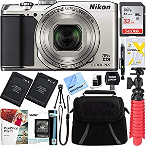 Nikon A900 20MP Longest Slim Zoom COOLPIX WiFi Digital Camera with 4K UHD Video 35x Telephoto NIKKOR Zoom Lens + 64GB Dual Battery Accessory Bundle