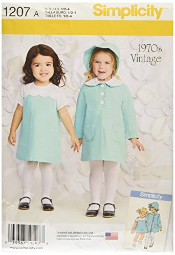 Simplicity 1207 1970's Vintage Fashion Girl's Dress, Coat, and Bonnet Sewing Patterns, Sizes A (1/2-4) -