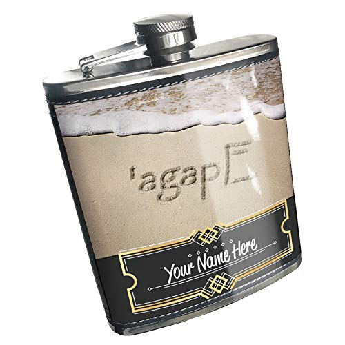 Neonblond Flask Love in Koine Greek language written on beach Custom Name Stainless Steel