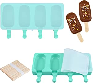 Fimary Large Popsicle Molds Set with Lid, 4 Cavities Homemade DIY Ice Pop Molds Oval, Food Grade Silicone Molds for Kids & Ault, with 50 Wooden Sticks (1, Mint Green)