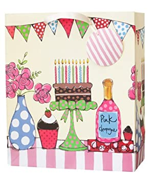 Janie Wilson Cake On Stand Large Birthday Gift Bag Amazoncouk Office Products