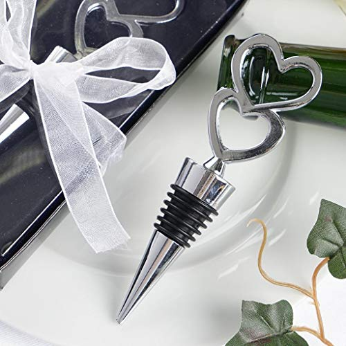 Efavormart Silver Metal Double Heart Wine Bottle Stopper With Velvet Gift Box - Pack of 5
