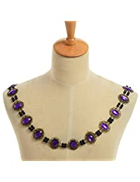 GRACEART Men's Tudors Chain of Office Livery Collar Necklace (Purple Cabochons)