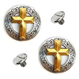2 Pack 1-1/8'' Western Silver/Gold Cross Round Concho w/ 1/4'' Chicago Screws
