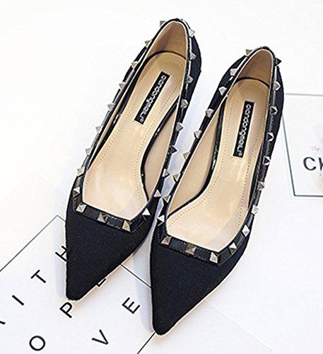 Easemax Moda Para Mujer Del Dedo Del Pie Puntiagudo Kitten Heel Dress Pump Zapatos Negro