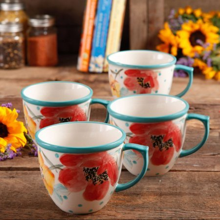 - The Pioneer Women Flea Market Vintage Bloom 16 oz Coffee Cup, Set of 4