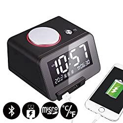 Homtime C1-PRO Music Alarm Clock with Bluetooth Speaker, Dual USB Charging, Personalized Alarm Ring, Thermometer, 3 Level Dimmable, Perfect for Home, Hotel and Office, Black