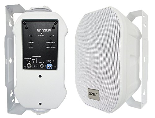 52BTW Silver Ticket Products Active Bluetooth Indoor / Outdoor Patio Speaker Pair (5 Inch, White) by Silver Ticket Products