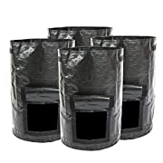 DAFUANY Garden Potato Grow Bags 4 Pack 10 Gallon Vegetables Grow Pots with Access Flap and Handles