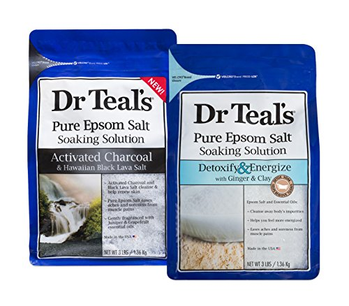 Dr Teal's Epsom Salt Soaking Solution Detoxify & Energize and Activated Charcoal, 2 Count - 6lbs Total (Best Epsom Salt Detox Bath)