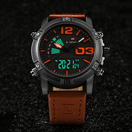 Mens Waterproof Sports Digital Leather Band Wrist Watch Multi-Function Display Backlight Watches (9095yellow)
