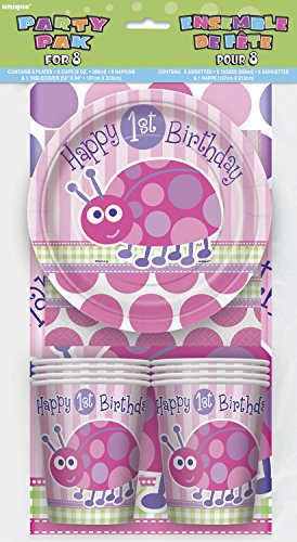 Ladybug 1st Birthday Party Tableware Kit for 8