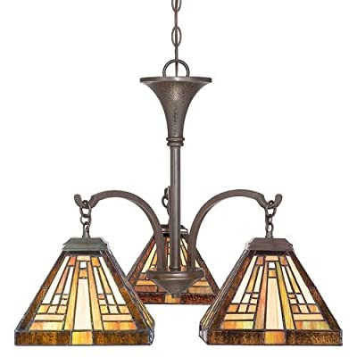 "Quoizel TFST5103 Stephen 3 Light 19"" Wide Mini Chandelier with Tiffany Glass,"