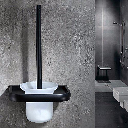 HYP Black toilet toilet brush set space aluminum toilet brush holder Continental hotel toilet brush hardware pendant