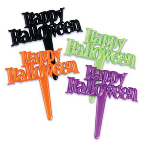 Dress My Cupcake DMC41H-801 12-Pack Happy Halloween Pearlized Signs Pick Decorative Cake Topper, Assorted]()