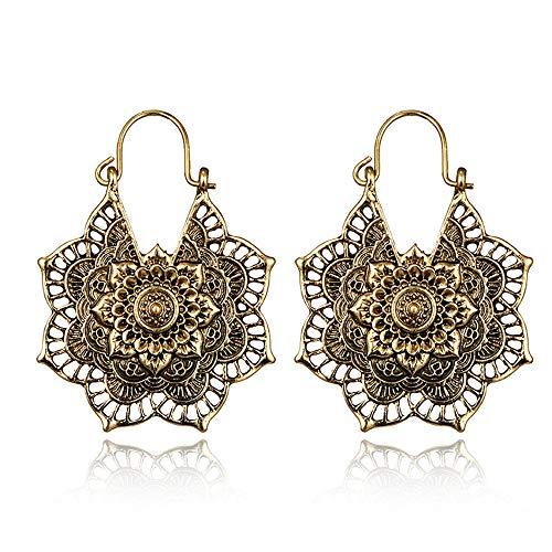 Vintage Mandala Flower Drop Dangle Earring for Women Girl Tribal Hollow Floral Pendant Earrings (Gold)