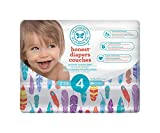 The Honest Company Disposable diapers, painted feathers print polybag, size 4, 29 Count