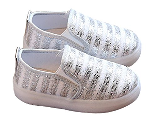 06f913e06a95a Otamise Girls' Light up Sequins Shoes Slip-on Flashing LED Casual Loafers  Flat Sneakers (Toddler/Little Kid) Silver US 10M
