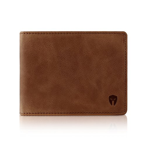 - 2 ID Window RFID Wallet for Men, Bifold Top Flip, Extra Capacity Travel Wallet (Brown - Distressed Leather, Medium)