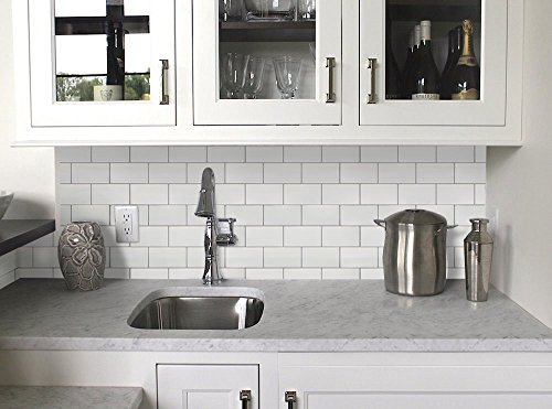 Vamos Tile White Subway Removable Peel and Stick Tile Backsplash,Self Adhesive Vinyl Wall Tiles for Kitchen & Bathroom-10.62