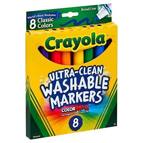 Washable Conical Tip (Crayola Broad Point Washable Markers, 8 Markers, Classic Colors Pack of 6)