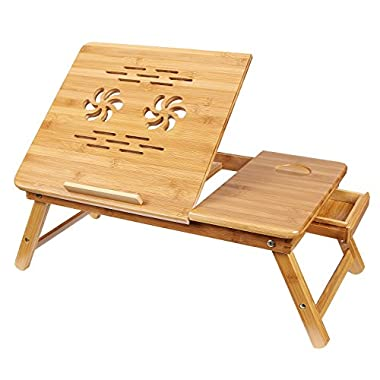 SONGMICS Bamboo Adjustable Laptop Desk Breakfast Serving Bed Tray w' Tilting Top Drawer ULLD001