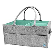Wo Baby Diaper Organizer Caddy, Large Nursery Storage Bin for Diapers/Baby Wipes/Kids Toys, Portable Storage Basket for Car Travel (Light Gray)