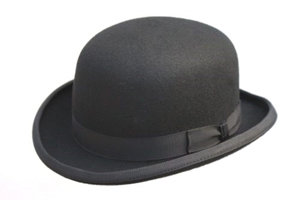 AB 100% Wool Black Bowler Hat Fashion Hat Satin Lining 4 Sizes (Removable Feather)