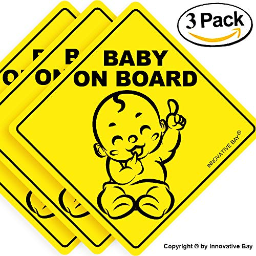 "(Baby on Board Sticker Sign (3 pack), Baby board, baby car sticker, baby car decal, baby announcement board, US Department of Transportation recommend color & shape,kid safety, 5""by5"" By Innovative Bay)"