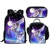 Dellukee School Backpack Set Lunch Bag Pen Bags Cute Durable Bookbags Daypacks Unicorn Print