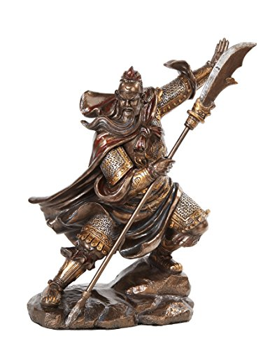 PTC 13 Inch Guan Yu Chinese Fighting Warrior Resin Statue Figurine