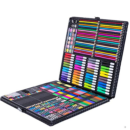 ZXYWW Art Drawing Sets, Aluminum Box Art Paint Stationery Set, 288pcs Children's Painting Crayons Watercolor Pen Color Lead Gift Student Gift]()
